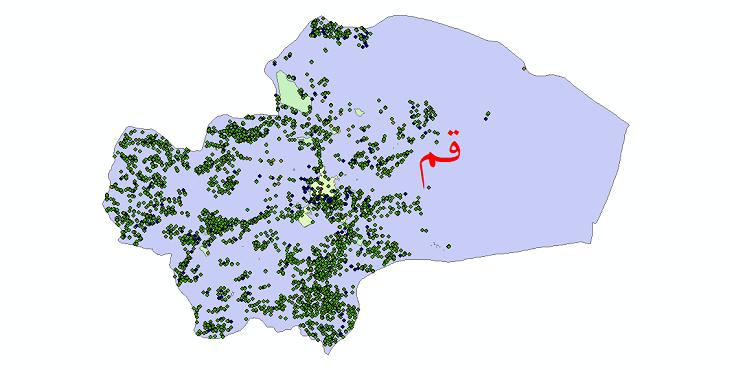 دانلود نقشه شیپ فایل آمار جمعیت نقاط شهری و نقاط روستایی استان قم از سال 1335 تا 1395