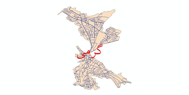دانلود نقشه شیپ فایل شبکه معابر شهر گرمی سال 1399