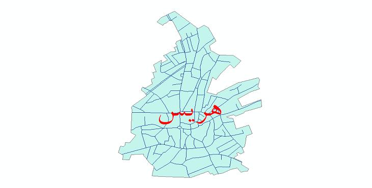 دانلود نقشه شیپ فایل شبکه معابر شهر هریس سال 1399