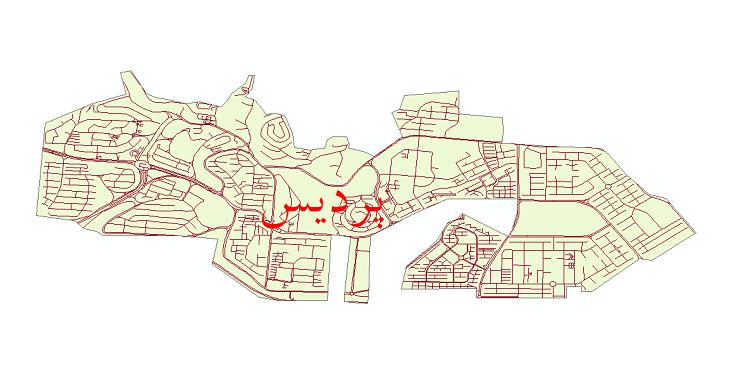 دانلود نقشه شیپ فایل شبکه معابر شهر پردیس سال 1399