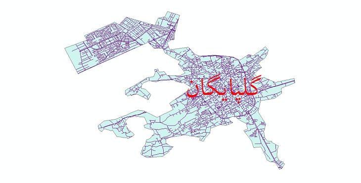 دانلود نقشه شیپ فایل شبکه معابر شهر گلپایگان سال 1399