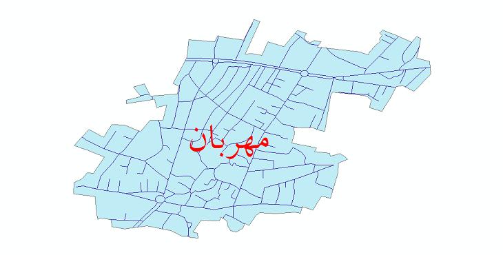دانلود نقشه شیپ فایل شبکه معابر شهر مهربان سال 1399