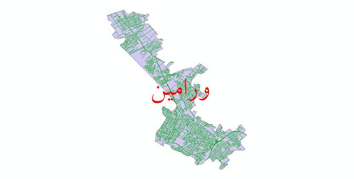 دانلود نقشه شیپ فایل شبکه معابر شهر ورامین سال 1399