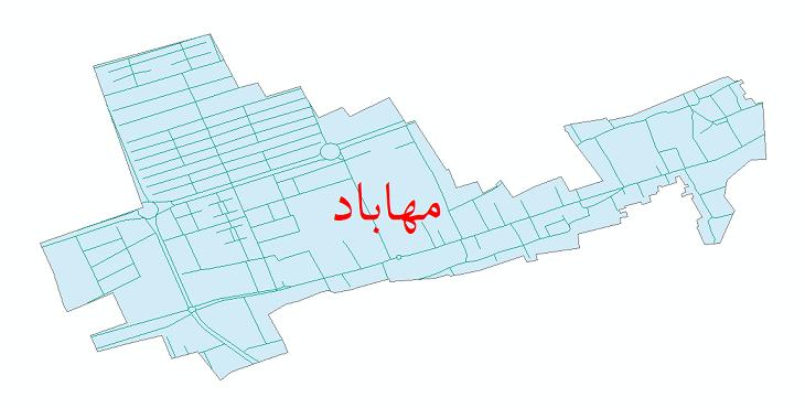 دانلود نقشه شیپ فایل شبکه معابر شهر مهاباد سال 1399