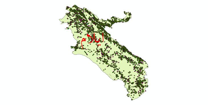 دانلود نقشه شیپ فایل آمار جمعیت نقاط شهری و نقاط روستایی استان ایلام از سال 1335 تا 1395
