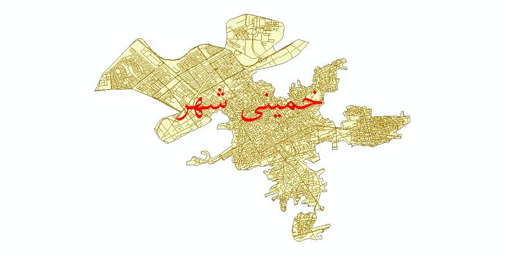 دانلود نقشه شیپ فایل شبکه معابر شهر خمینی شهر سال 1399