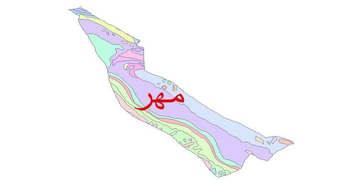 دانلود نقشه شیپ فایل زمین شناسی شهرستان مهر