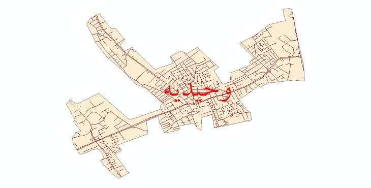 نقشه شیپ فایل شبکه معابر شهر وحیدیه سال 1399