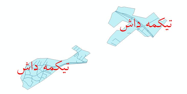 نقشه شیپ فایل شبکه معابر شهر تیکمه داش سال 1399