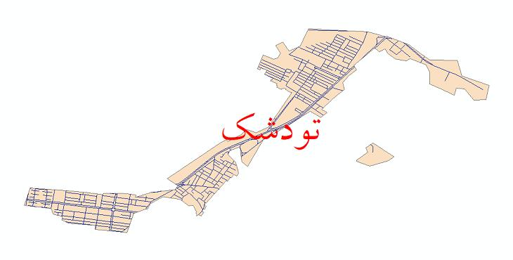 دانلود نقشه شیپ فایل شبکه معابر شهر تودشک سال 1399