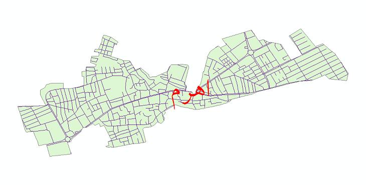 دانلود نقشه شیپ فایل شبکه معابر شهر اهرم سال 1399