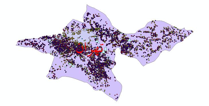 دانلود نقشه شیپ فایل آمار جمعیت نقاط شهری و نقاط روستایی استان تهران از سال 1335 تا 1395