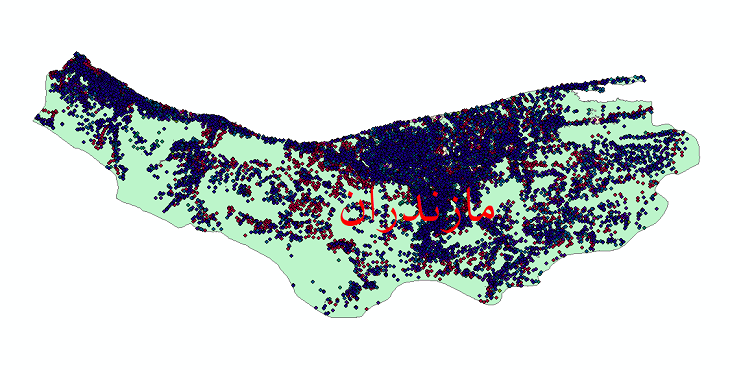 دانلود نقشه شیپ فایل آمار جمعیت نقاط شهری و نقاط روستایی استان مازندران از سال 1335 تا 1395