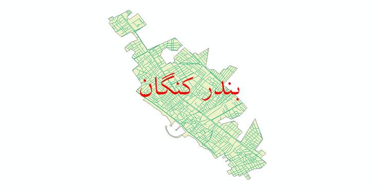 دانلود نقشه شیپ فایل شبکه معابر شهر بندر کنگان سال 1399