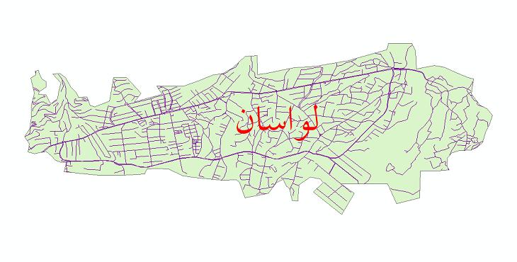 دانلود نقشه شیپ فایل شبکه معابر شهر لواسان سال 1399