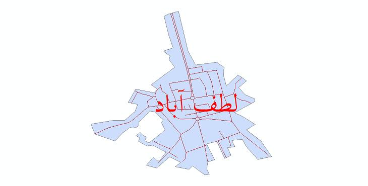 دانلود نقشه شیپ فایل شبکه معابر شهر لطف آباد سال 1399