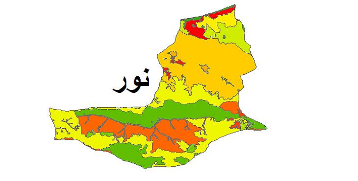 شیپ فایل کاربری اراضی شهرستان نور