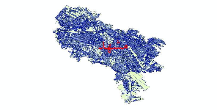 دانلود نقشه شیپ فایل شبکه معابر شهر مشهد سال 1399