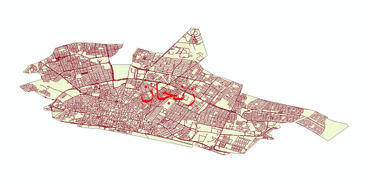 دانلود نقشه شیپ فایل شبکه معابر شهر زنجان سال 1399