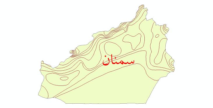 دانلود نقشه شیپ فایل خطوط هم بارش استان سمنان