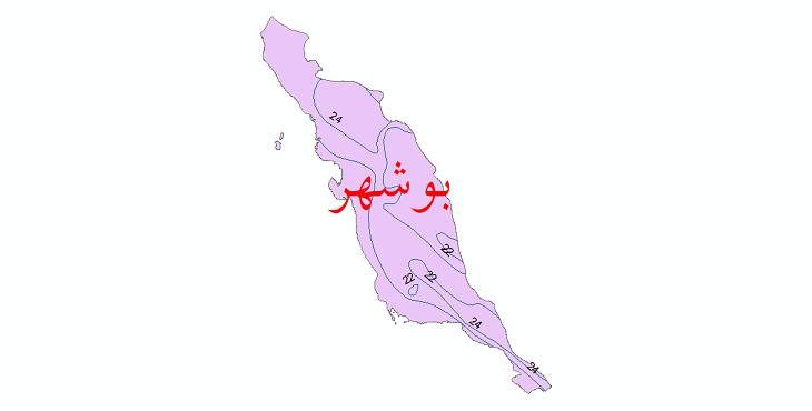 دانلود نقشه شیپ فایل خطوط هم دما استان بوشهر