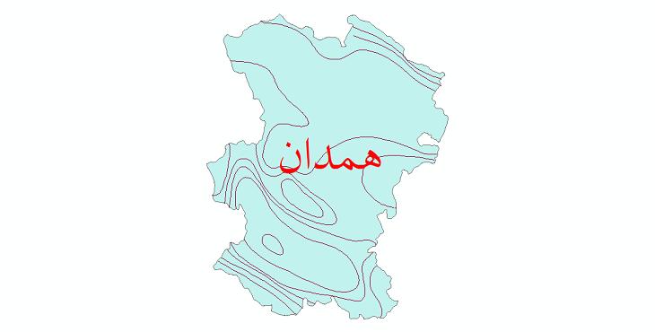 دانلود نقشه شیپ فایل خطوط هم بارش استان همدان
