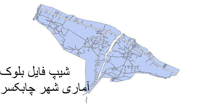 دانلود شیپ فایل بلوک آماری شهر چابکسر سال ۱۳۸۵