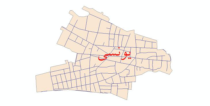 دانلود نقشه شیپ فایل شبکه معابر شهر یونسی سال 1399