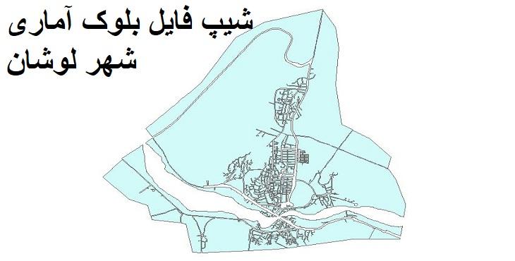 دانلود شیپ فایل بلوک آماری شهر لوشان سال ۱۳۸۵