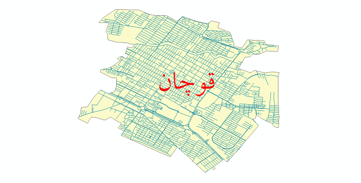 دانلود نقشه شیپ فایل شبکه معابر شهر قوچان سال 1399