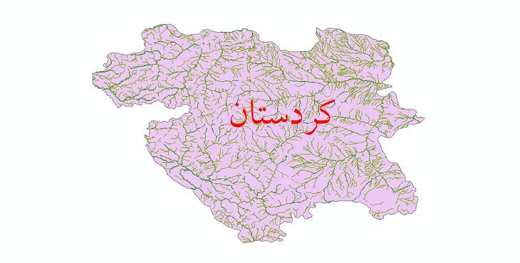 دانلود نقشه شیپ فایل رودخانه های استان کردستان
