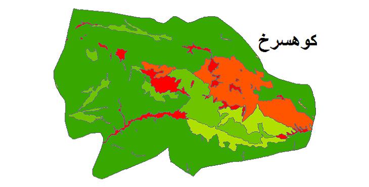 شیپ فایل کاربری اراضی شهرستان کوهسرخ
