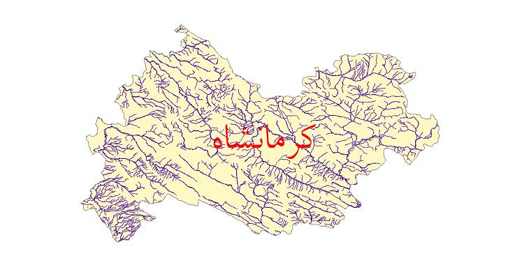 دانلود نقشه شیپ فایل رودخانه های استان کرمانشاه