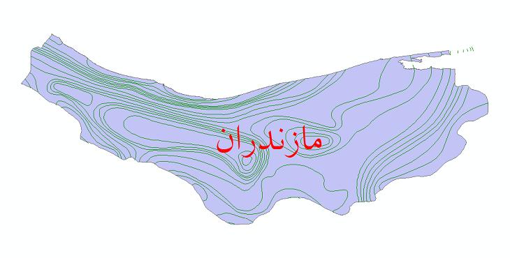 دانلود نقشه شیپ فایل خطوط هم بارش استان مازندران