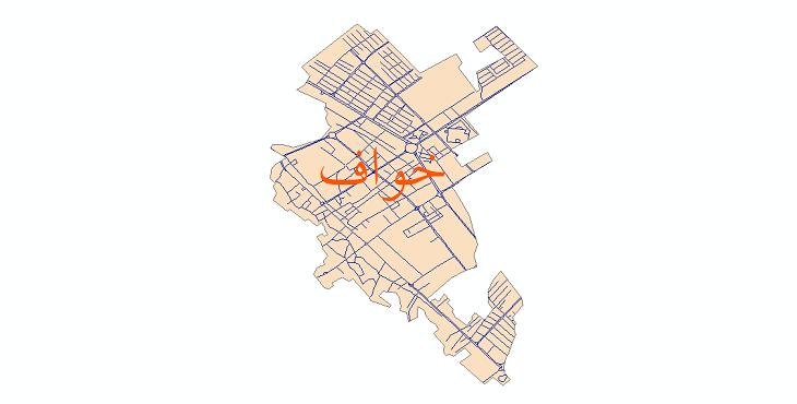 دانلود نقشه شیپ فایل شبکه معابر شهر خواف سال 1399