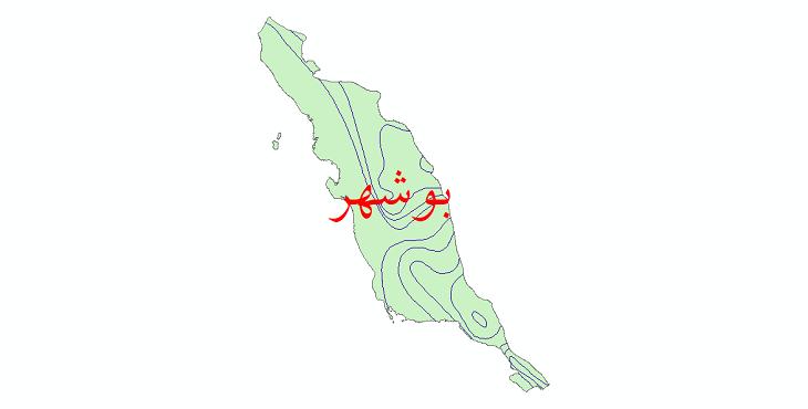 دانلود نقشه شیپ فایل خطوط هم تبخیر استان بوشهر