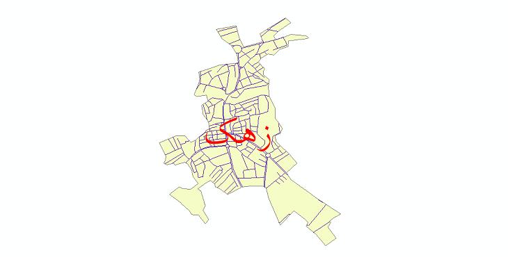دانلود نقشه شیپ فایل شبکه معابر شهر زهک سال 1399