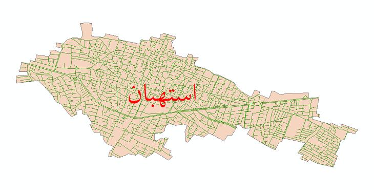 دانلود نقشه شیپ فایل شبکه معابر شهر استهبان سال 1399