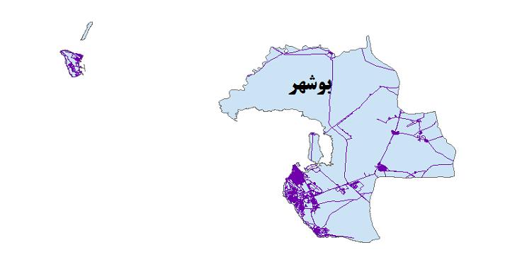 شیپ فایل شبکه راههای شهرستان بوشهر 1399