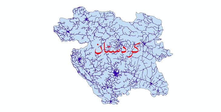 دانلود نقشه شیپ فایل شبکه راه های استان کردستان سال 1399
