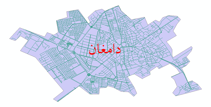 دانلود نقشه شیپ فایل شبکه معابر شهر دامغان سال 1399