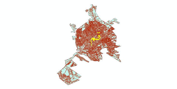 دانلود نقشه شیپ فایل شبکه معابر شهر قم سال 1399