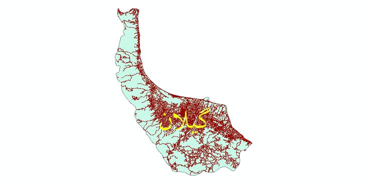 دانلود نقشه شیپ فایل شبکه راه های استان گیلان سال 1399
