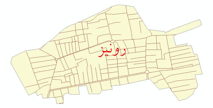 دانلود نقشه شیپ فایل شبکه معابر شهر رونیز سال 1399