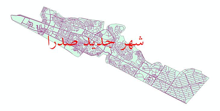 دانلود نقشه شیپ فایل شبکه معابر شهر جدید صدرا سال 1399