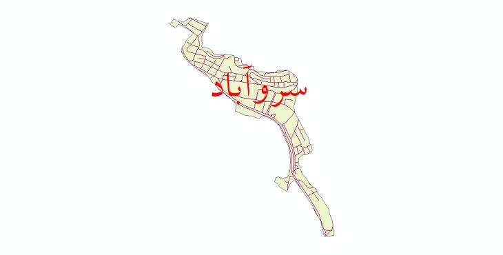 دانلود نقشه شیپ فایل شبکه معابر شهر سروآباد سال 1399