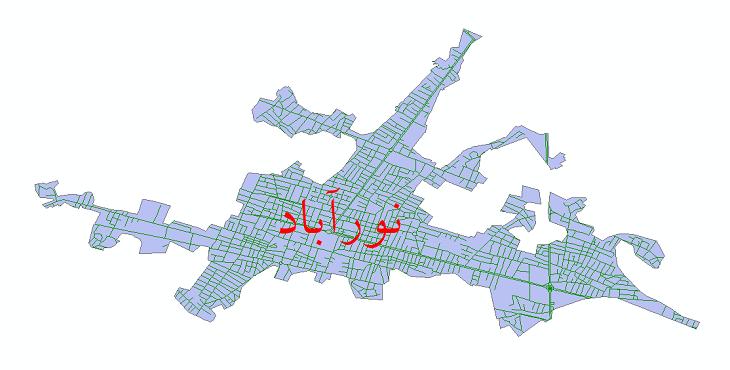 دانلود نقشه شیپ فایل شبکه معابر شهر نورآباد ممسنی سال 1399