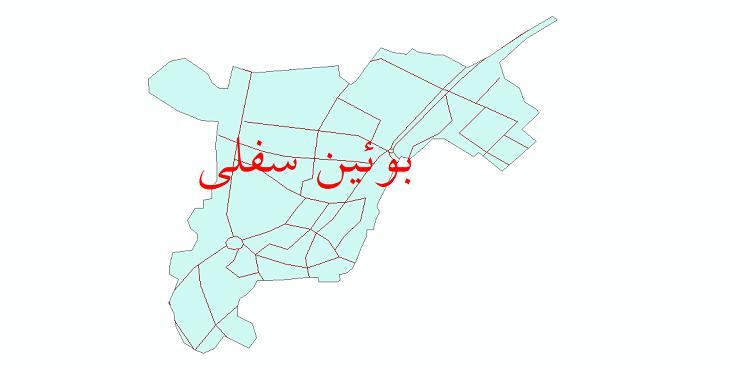 دانلود نقشه شیپ فایل شبکه معابر شهر بوئین سفلی سال 1399