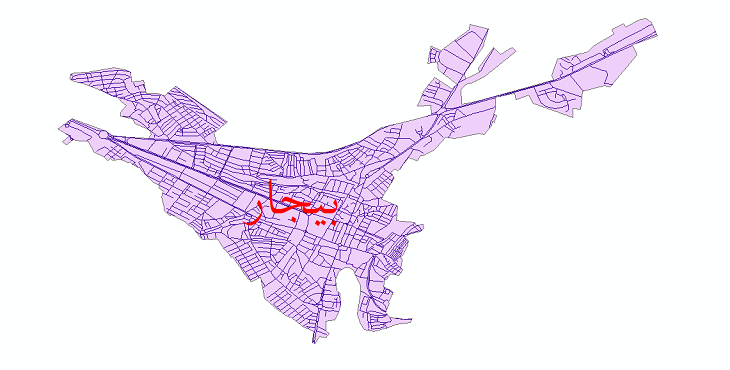 دانلود نقشه شیپ فایل شبکه معابر شهر بیجار سال 1399