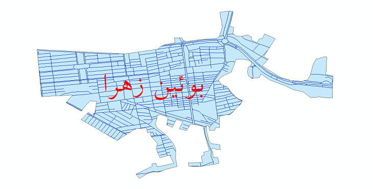 دانلود نقشه شیپ فایل شبکه معابر شهر بوئین زهرا سال 1399